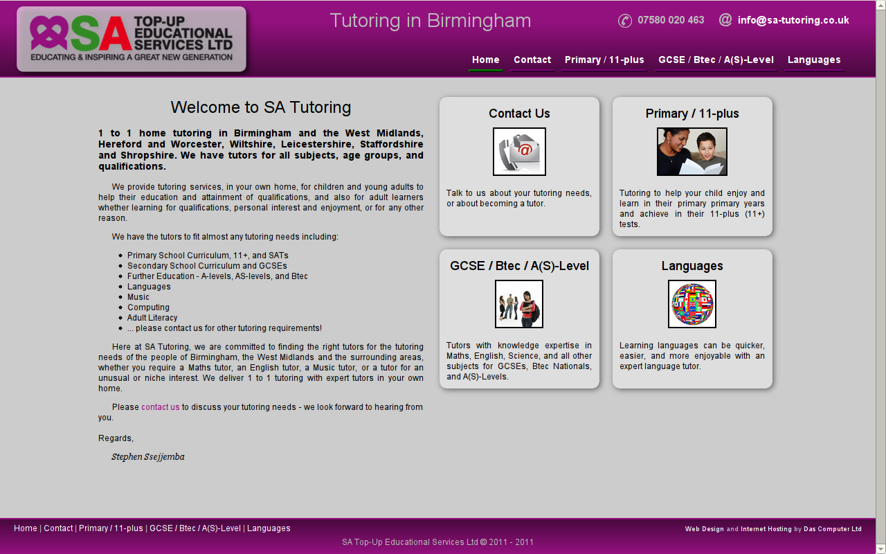 SA Tutoring Website - Tutoring in and around birmingham.